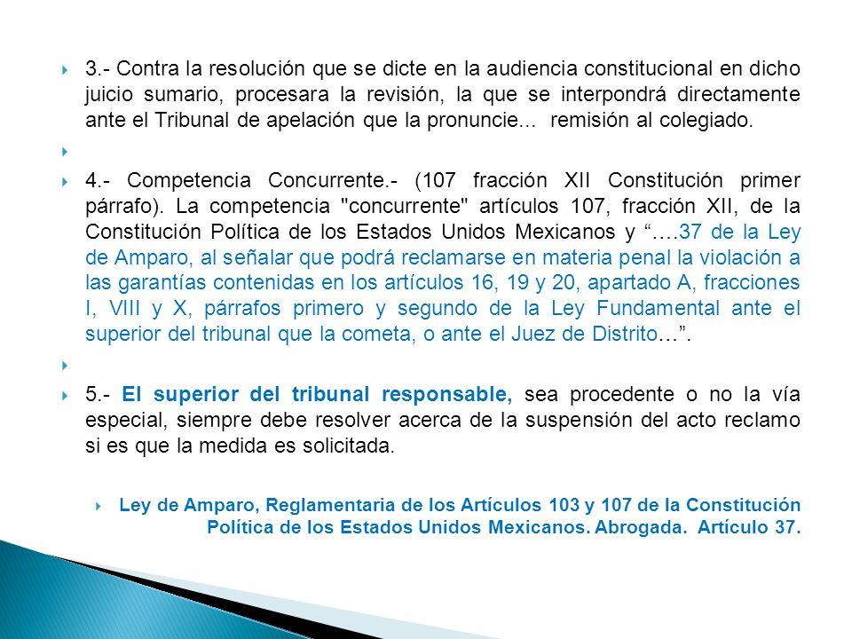 3.- Contra la resolución que se dicte en la audiencia constitucional en dicho juicio sumario, procesara la revisión, la que se interpondrá directament