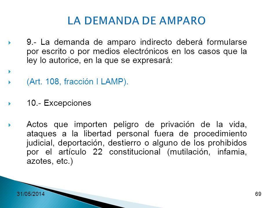 31/05/201469 LA DEMANDA DE AMPARO 9.- La demanda de amparo indirecto deberá formularse por escrito o por medios electrónicos en los casos que la ley l