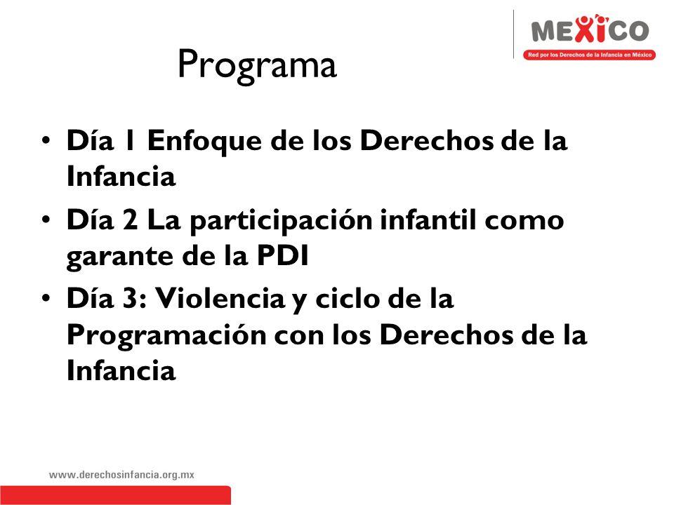 Programa Día 1 Enfoque de los Derechos de la Infancia Día 2 La participación infantil como garante de la PDI Día 3: Violencia y ciclo de la Programación con los Derechos de la Infancia