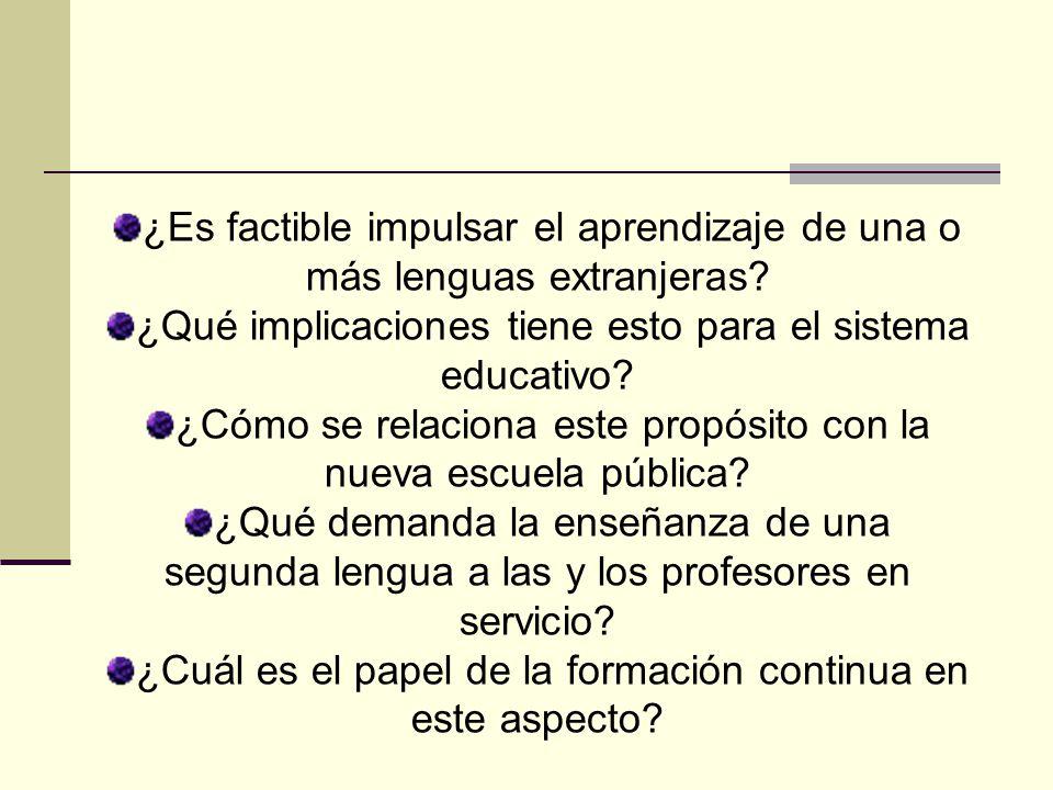 Contenido Los maestros, las maestras y la enseñanza de la lengua El aprendizaje de las lenguas y las prioridades educativas Un modelo de formación continua con el aprendizaje como razón de ser Una formación para mejorar la enseñanza de las lenguas