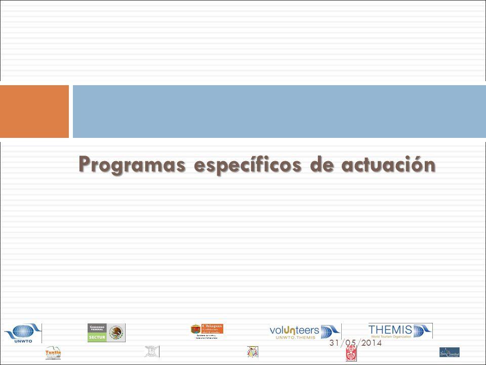 31/05/2014 Secretaría de Turismo y Relaciones Internacionales Programas específicos de actuación