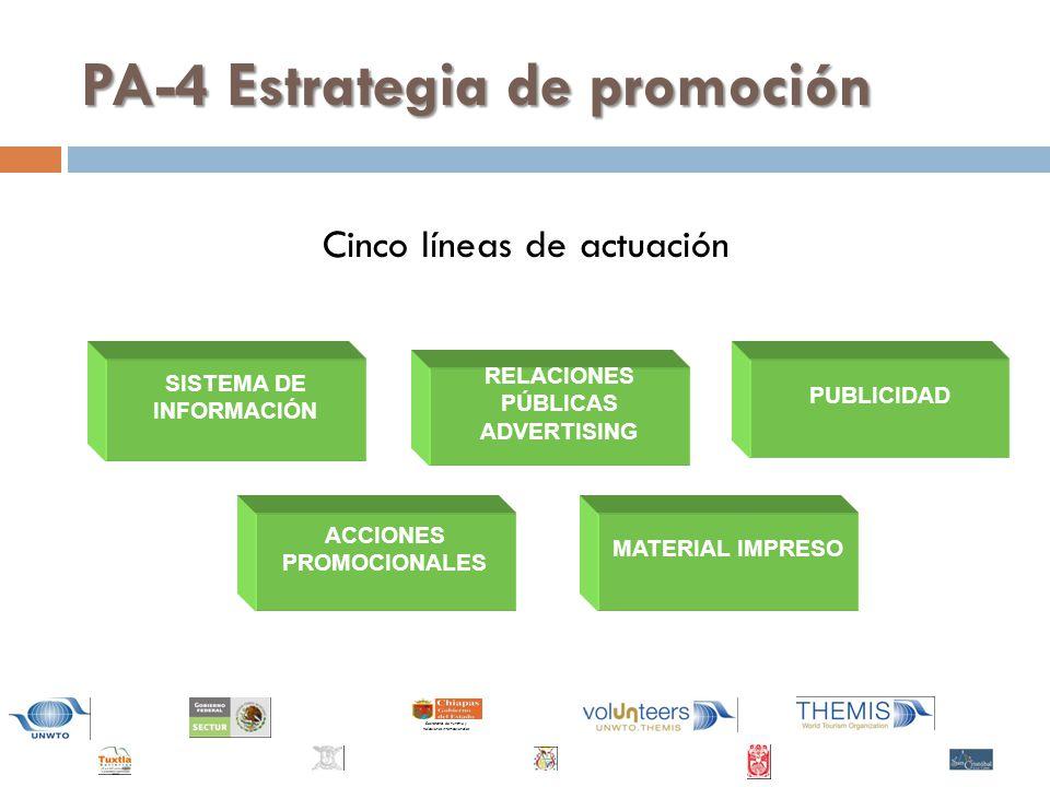Secretaría de Turismo y Relaciones Internacionales SISTEMA DE INFORMACIÓN PUBLICIDAD ACCIONES PROMOCIONALES RELACIONES PÚBLICAS ADVERTISING MATERIAL IMPRESO PA-4 Estrategia de promoción Cinco líneas de actuación