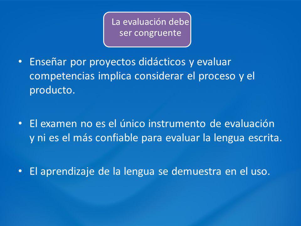 Enseñar por proyectos didácticos y evaluar competencias implica considerar el proceso y el producto. El examen no es el único instrumento de evaluació