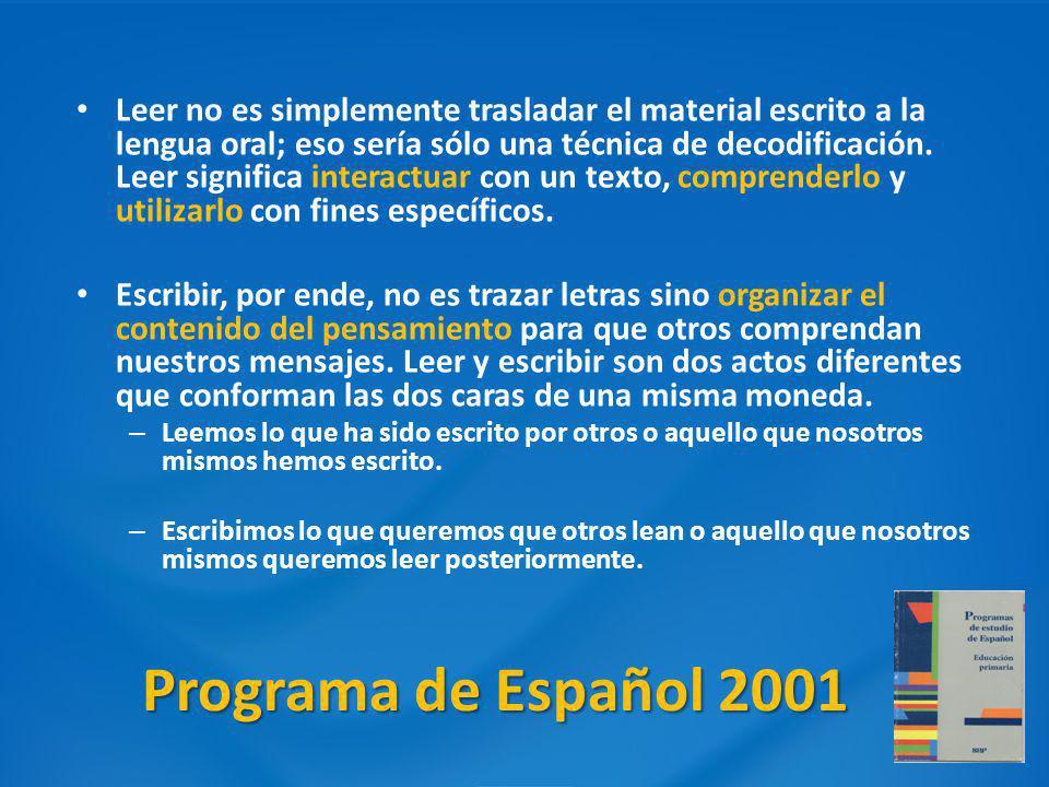 Programa de Español 2001 Leer no es simplemente trasladar el material escrito a la lengua oral; eso sería sólo una técnica de decodificación. Leer sig