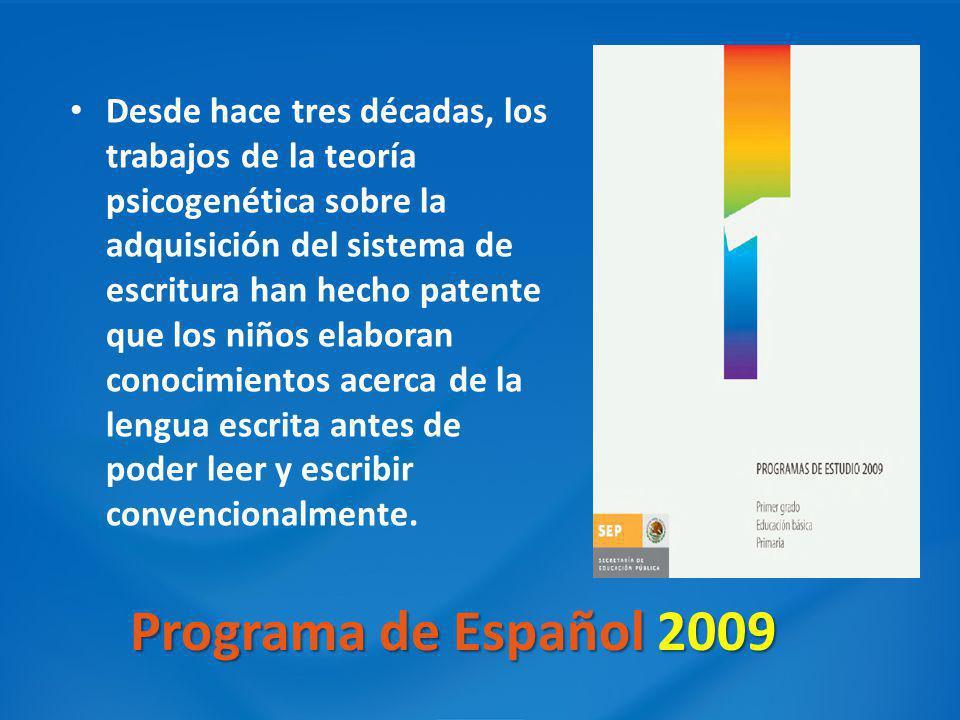 Programa de Español 2009 Desde hace tres décadas, los trabajos de la teoría psicogenética sobre la adquisición del sistema de escritura han hecho pate