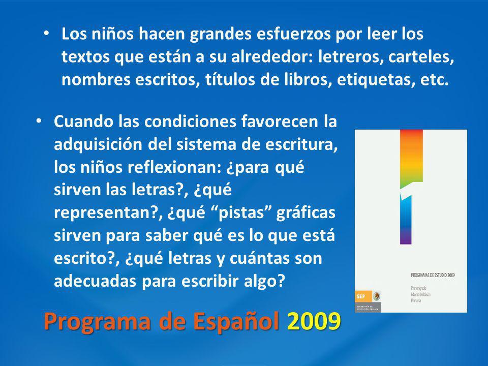 Programa de Español 2009 Cuando las condiciones favorecen la adquisición del sistema de escritura, los niños reflexionan: ¿para qué sirven las letras?