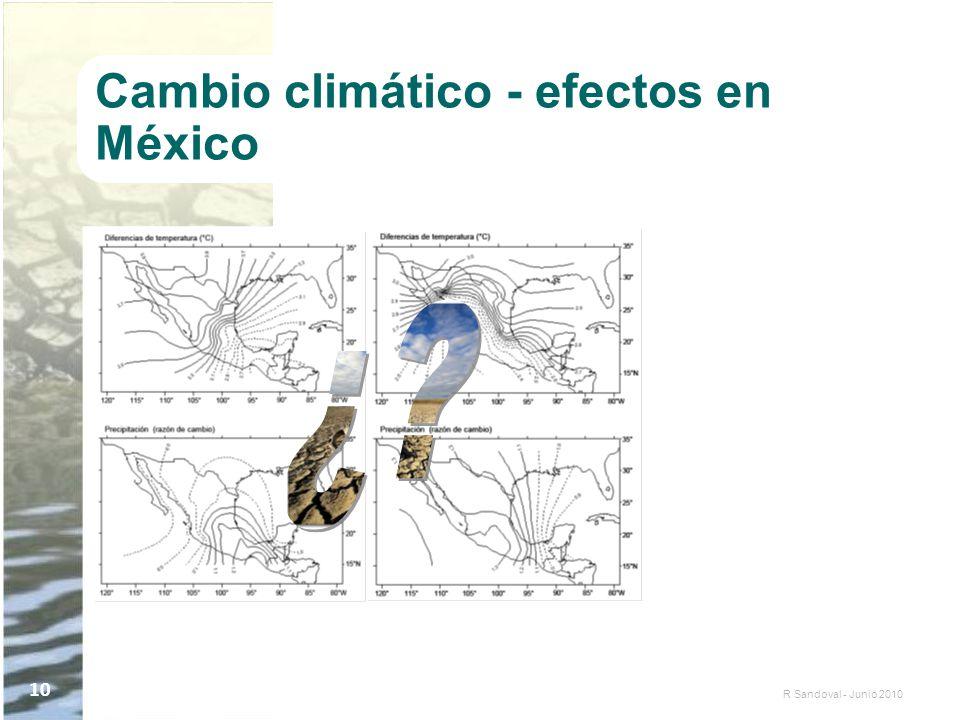 R Sandoval - Junio 2010 10 Cambio climático - efectos en México