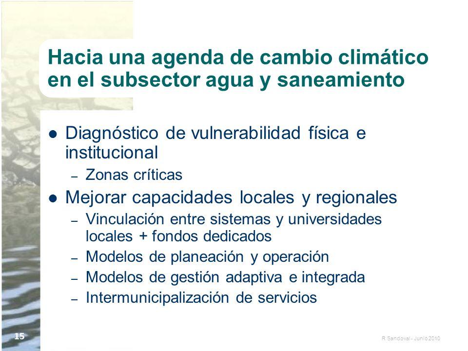 R Sandoval - Junio 2010 15 Hacia una agenda de cambio climático en el subsector agua y saneamiento Diagnóstico de vulnerabilidad física e instituciona