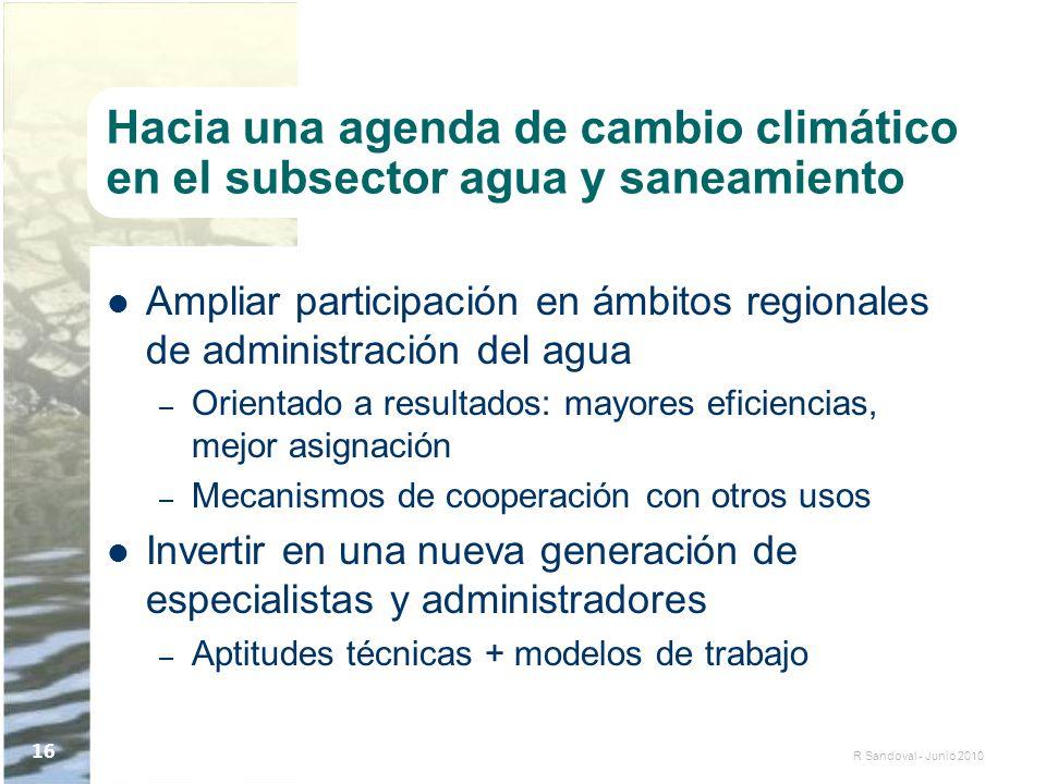 R Sandoval - Junio 2010 16 Hacia una agenda de cambio climático en el subsector agua y saneamiento Ampliar participación en ámbitos regionales de admi
