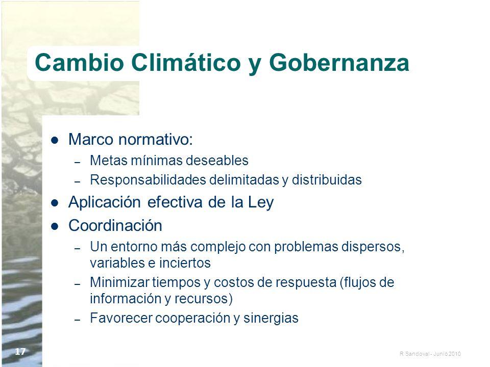R Sandoval - Junio 2010 17 Cambio Climático y Gobernanza Marco normativo: – Metas mínimas deseables – Responsabilidades delimitadas y distribuidas Apl