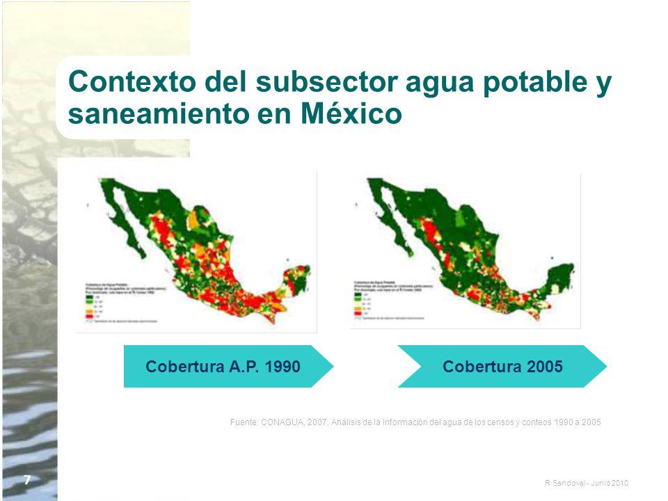 R Sandoval - Junio 2010 7 Contexto del subsector agua potable y saneamiento en México Cobertura A.P. 1990Cobertura 2005 Fuente: CONAGUA, 2007, Análisi