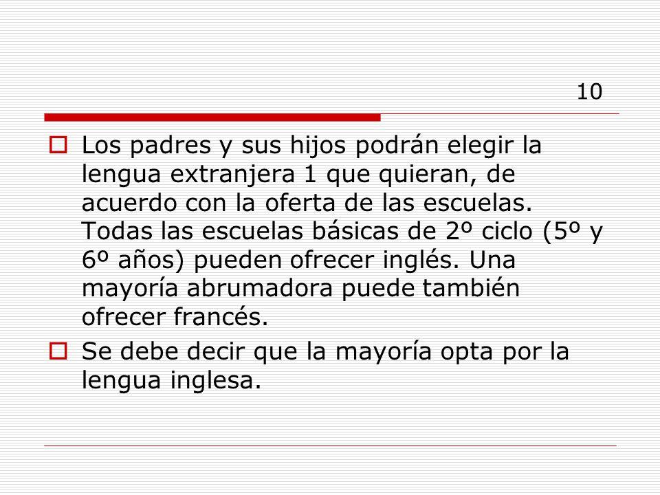 10 Los padres y sus hijos podrán elegir la lengua extranjera 1 que quieran, de acuerdo con la oferta de las escuelas.