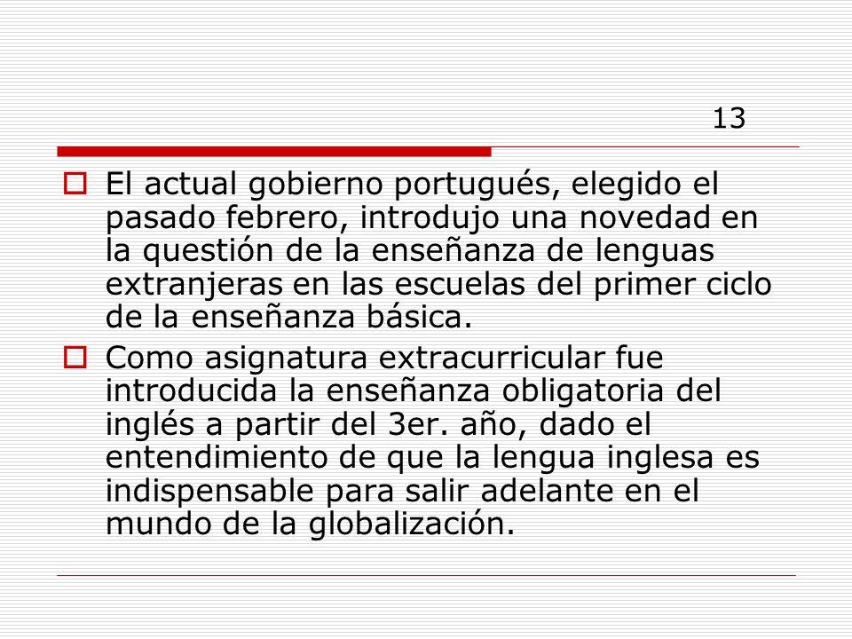 13 El actual gobierno portugués, elegido el pasado febrero, introdujo una novedad en la questión de la enseñanza de lenguas extranjeras en las escuelas del primer ciclo de la enseñanza básica.