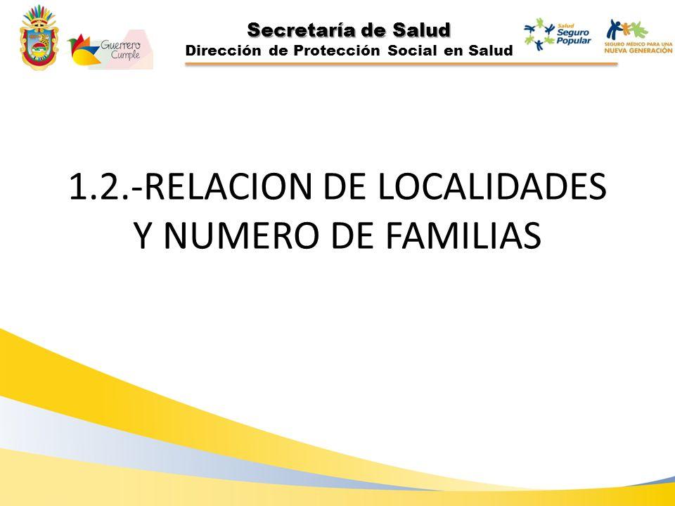 Secretaría de Salud Dirección de Protección Social en Salud 1.2.-RELACION DE LOCALIDADES Y NUMERO DE FAMILIAS