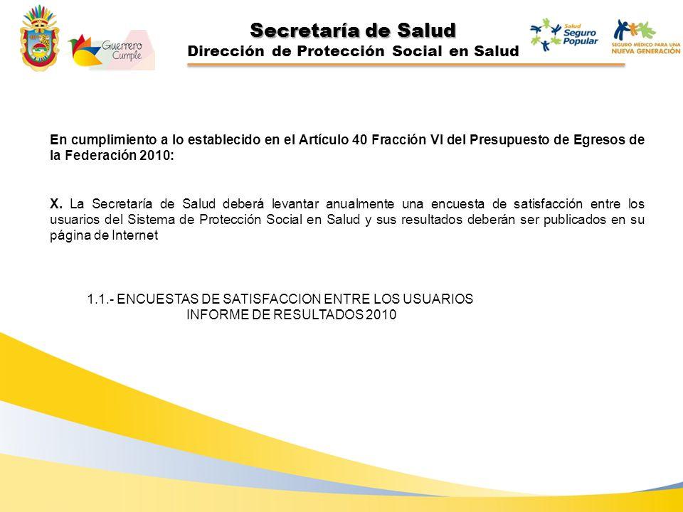 Secretaría de Salud Dirección de Protección Social en Salud En cumplimiento a lo establecido en el Artículo 40 Fracción VI del Presupuesto de Egresos de la Federación 2010: X.