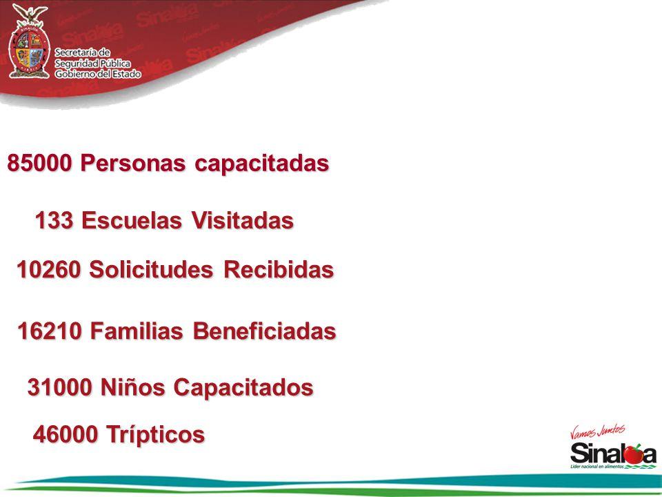 85000 Personas capacitadas 10260 Solicitudes Recibidas 16210 Familias Beneficiadas 16210 Familias Beneficiadas 133 Escuelas Visitadas 31000 Niños Capa