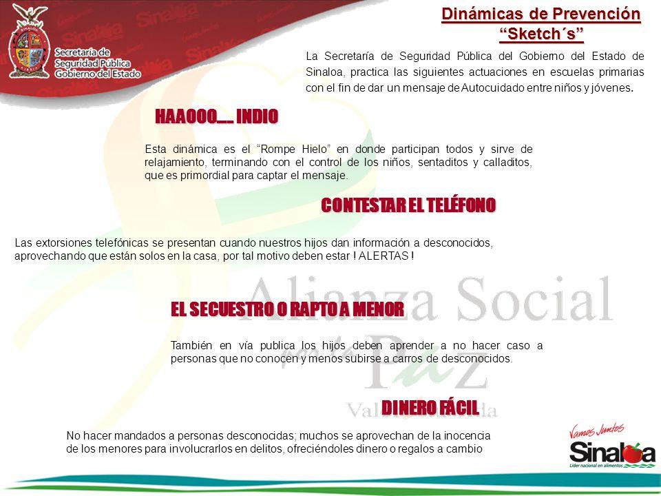 Dinámicas de Prevención Sketch´s La Secretaría de Seguridad Pública del Gobierno del Estado de Sinaloa, practica las siguientes actuaciones en escuela