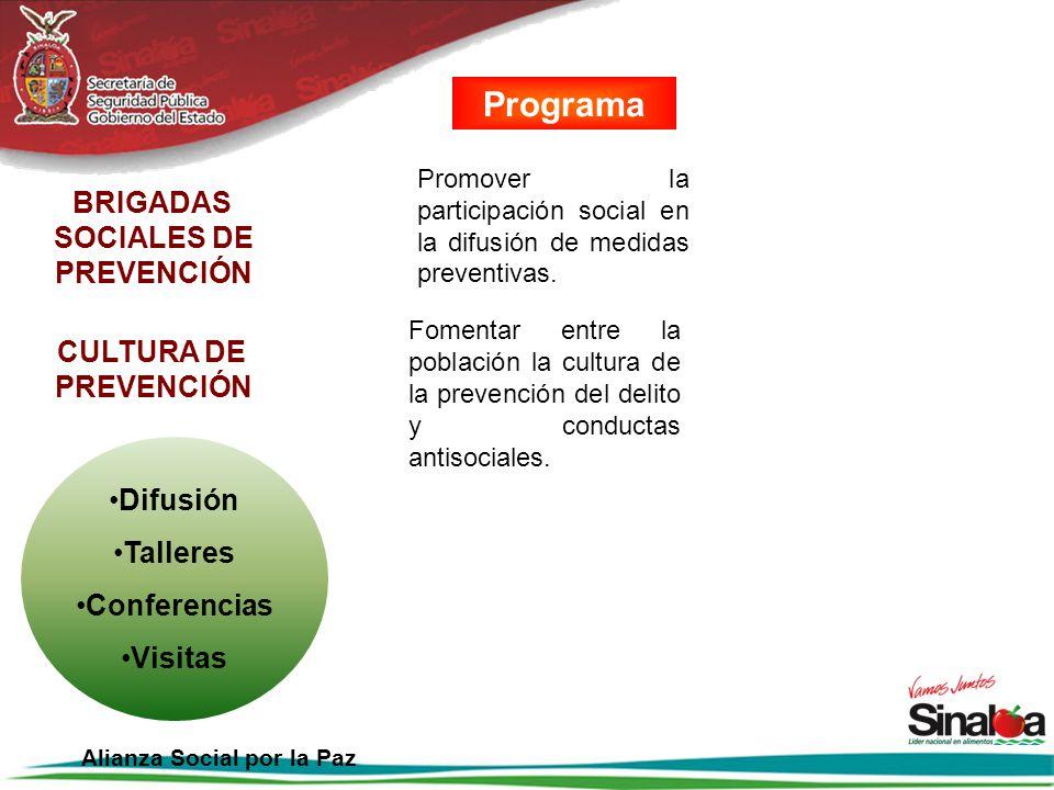 Promover la participación social en la difusión de medidas preventivas. BRIGADAS SOCIALES DE PREVENCIÓN CULTURA DE PREVENCIÓN Fomentar entre la poblac