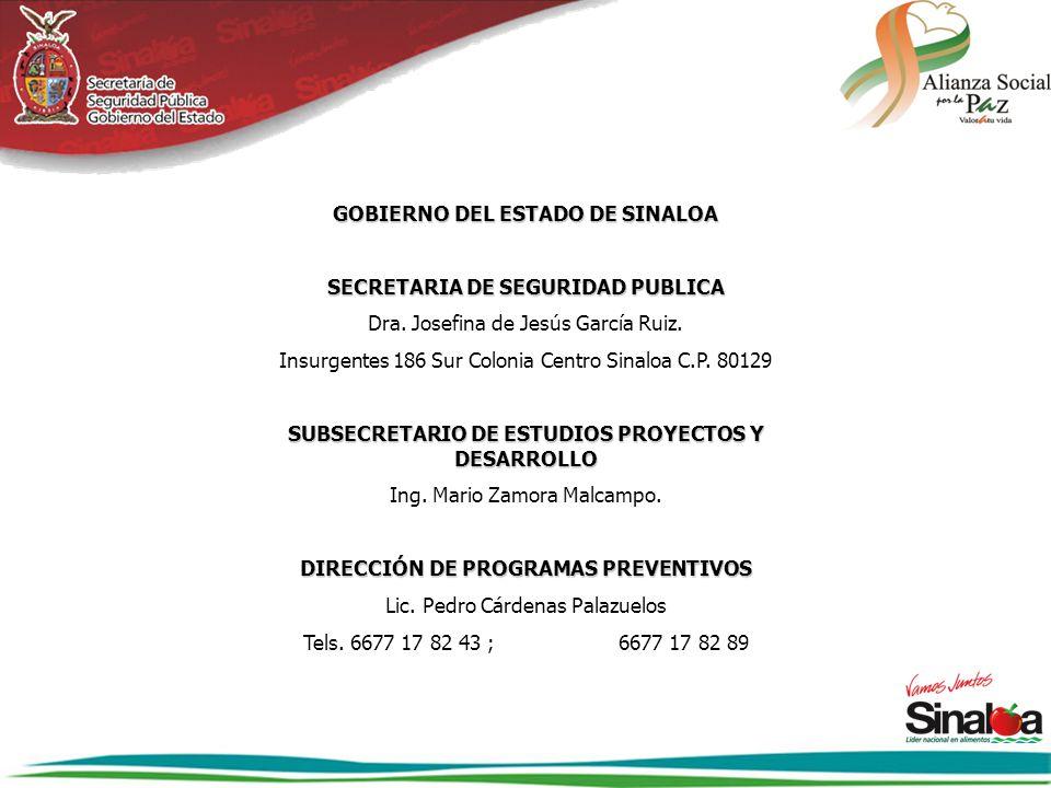 GOBIERNO DEL ESTADO DE SINALOA SECRETARIA DE SEGURIDAD PUBLICA Dra. Josefina de Jesús García Ruiz. Insurgentes 186 Sur Colonia Centro Sinaloa C.P. 801