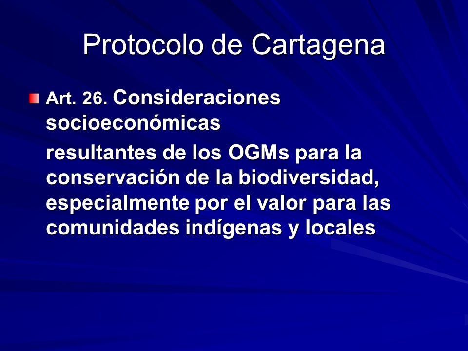 Protocolo de Cartagena Art.26.