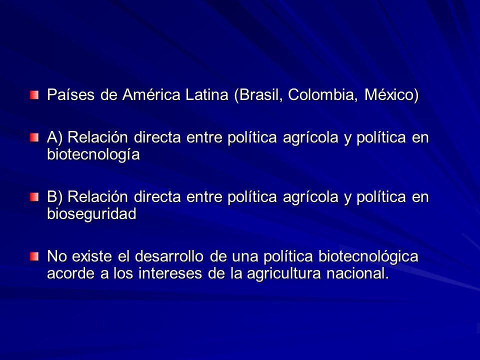 Países de América Latina (Brasil, Colombia, México) A) Relación directa entre política agrícola y política en biotecnología B) Relación directa entre política agrícola y política en bioseguridad No existe el desarrollo de una política biotecnológica acorde a los intereses de la agricultura nacional.