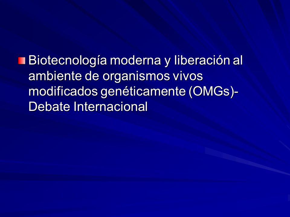Biotecnología moderna y liberación al ambiente de organismos vivos modificados genéticamente (OMGs)- Debate Internacional