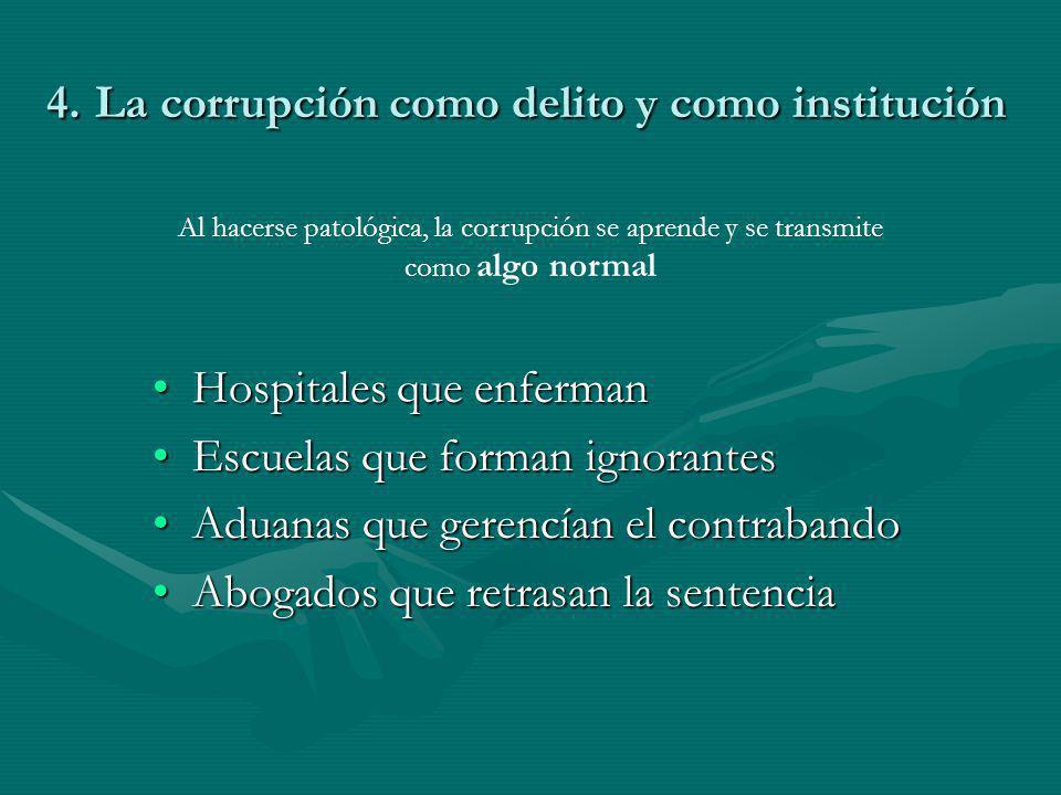 4. La corrupción como delito y como institución Hospitales que enfermanHospitales que enferman Escuelas que forman ignorantesEscuelas que forman ignor