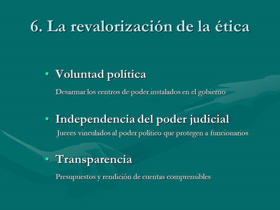 6. La revalorización de la ética Voluntad políticaVoluntad política Desarmar los centros de poder instalados en el gobierno Desarmar los centros de po
