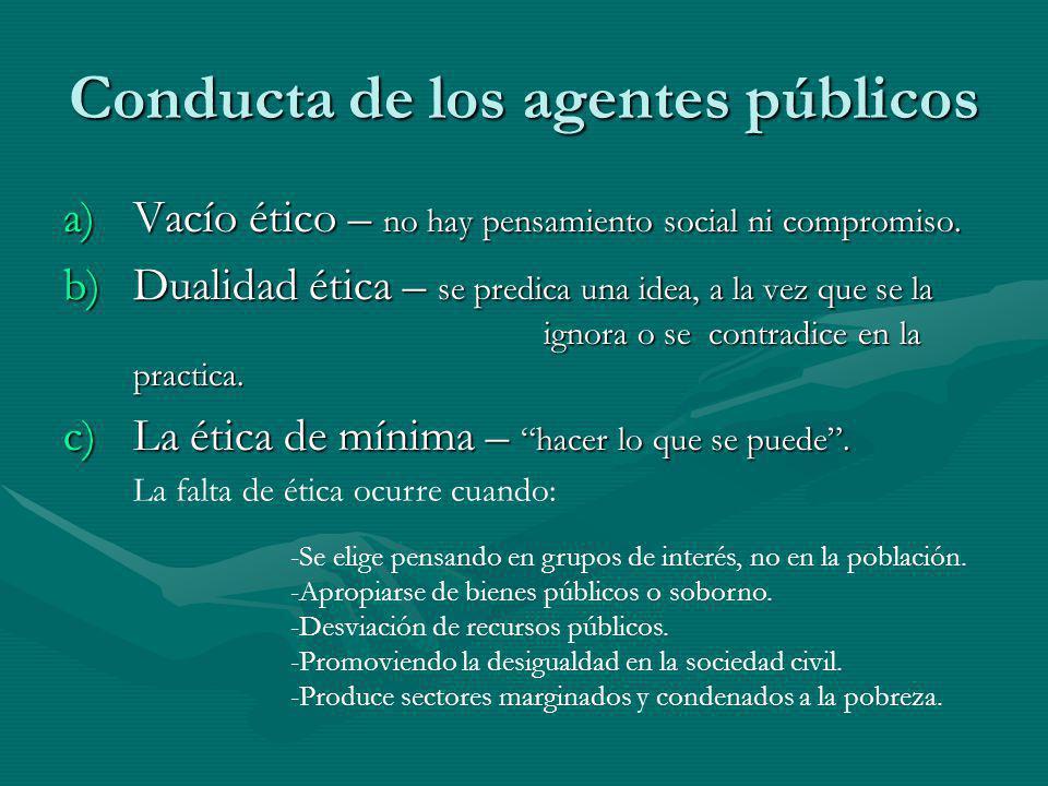 Conducta de los agentes públicos a)Vacío ético – no hay pensamiento social ni compromiso. b)Dualidad ética – se predica una idea, a la vez que se la i