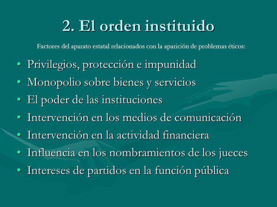 2. El orden instituido Privilegios, protección e impunidadPrivilegios, protección e impunidad Monopolio sobre bienes y serviciosMonopolio sobre bienes