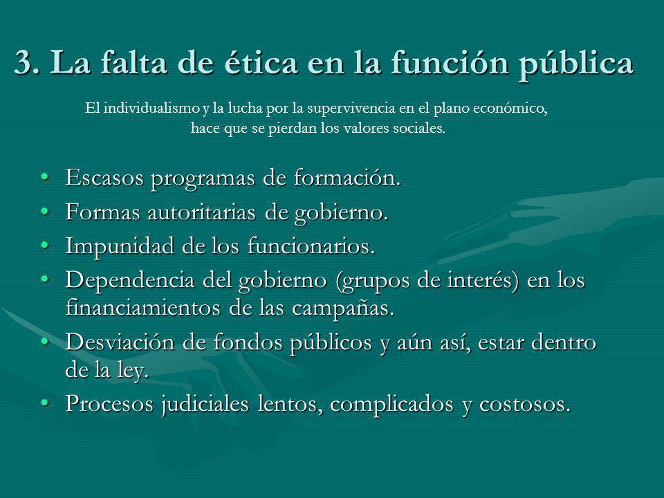 3. La falta de ética en la función pública Escasos programas de formación.Escasos programas de formación. Formas autoritarias de gobierno.Formas autor