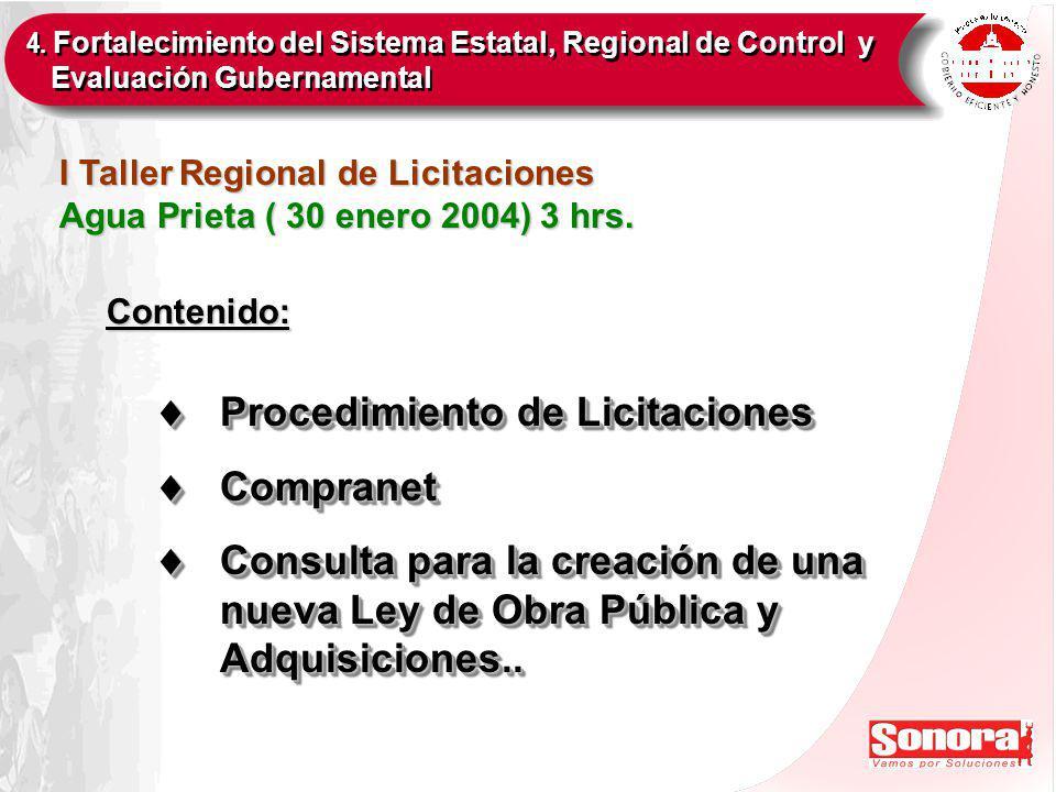I Taller Regional de Licitaciones Agua Prieta ( 30 enero 2004) 3 hrs.