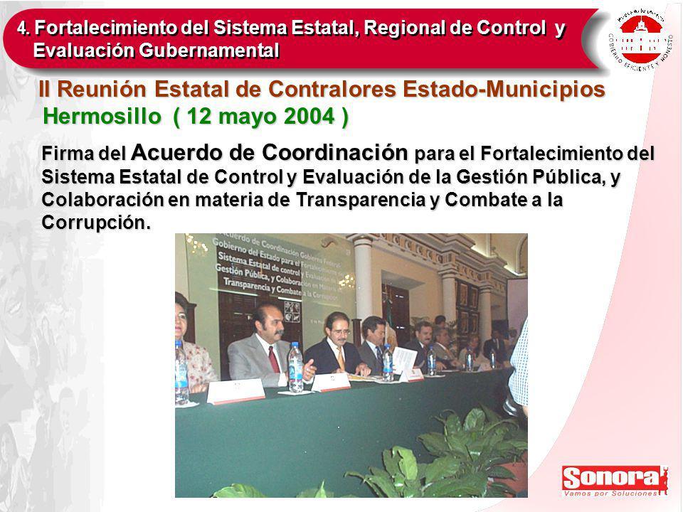 Firma del Acuerdo de Coordinación para el Fortalecimiento del Sistema Estatal de Control y Evaluación de la Gestión Pública, y Colaboración en materia de Transparencia y Combate a la Corrupción.