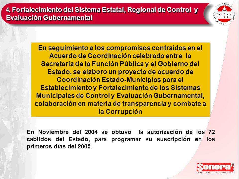 En seguimiento a los compromisos contraídos en el Acuerdo de Coordinación celebrado entre la Secretaría de la Función Pública y el Gobierno del Estado, se elaboro un proyecto de acuerdo de Coordinación Estado-Municipios para el Establecimiento y Fortalecimiento de los Sistemas Municipales de Control y Evaluación Gubernamental, colaboración en materia de transparencia y combate a la Corrupción En Noviembre del 2004 se obtuvo la autorización de los 72 cabildos del Estado, para programar su suscripción en los primeros días del 2005.