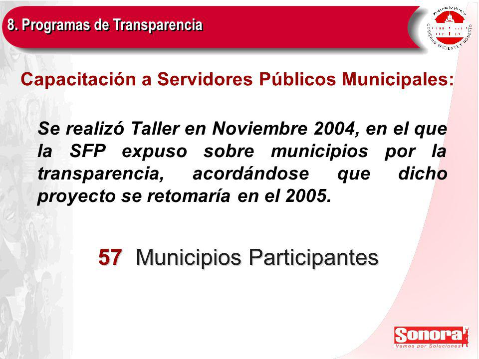 Capacitación a Servidores Públicos Municipales: 8.
