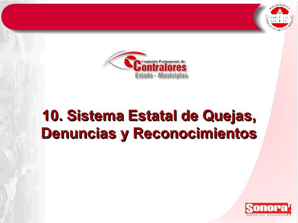 10. Sistema Estatal de Quejas, Denuncias y Reconocimientos