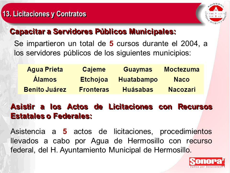 Capacitar a Servidores Públicos Municipales: 13.