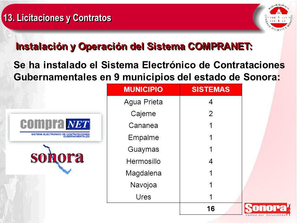 13. Licitaciones y Contratos Instalación y Operación del Sistema COMPRANET: Se ha instalado el Sistema Electrónico de Contrataciones Gubernamentales e
