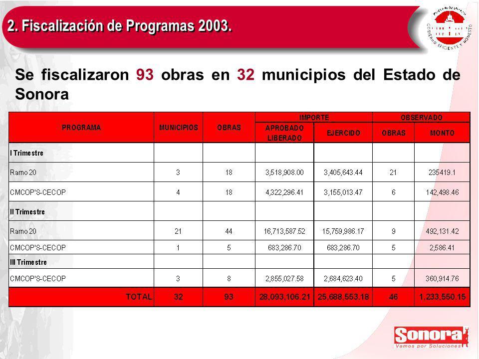 2. Fiscalización de Programas 2003. Se fiscalizaron 93 obras en 32 municipios del Estado de Sonora