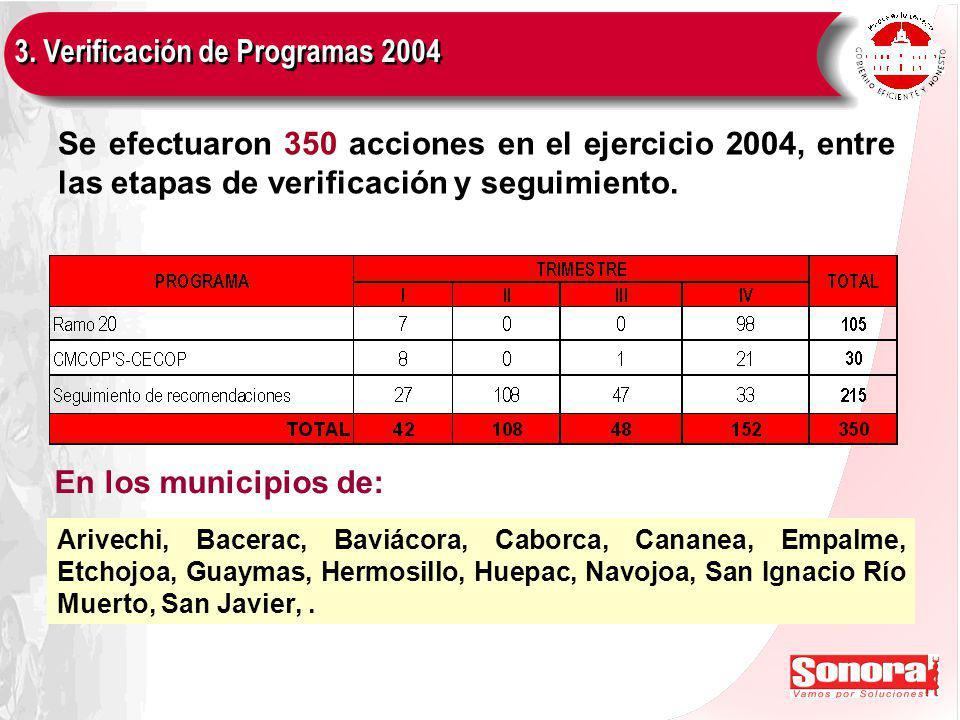 Se efectuaron 350 acciones en el ejercicio 2004, entre las etapas de verificación y seguimiento.