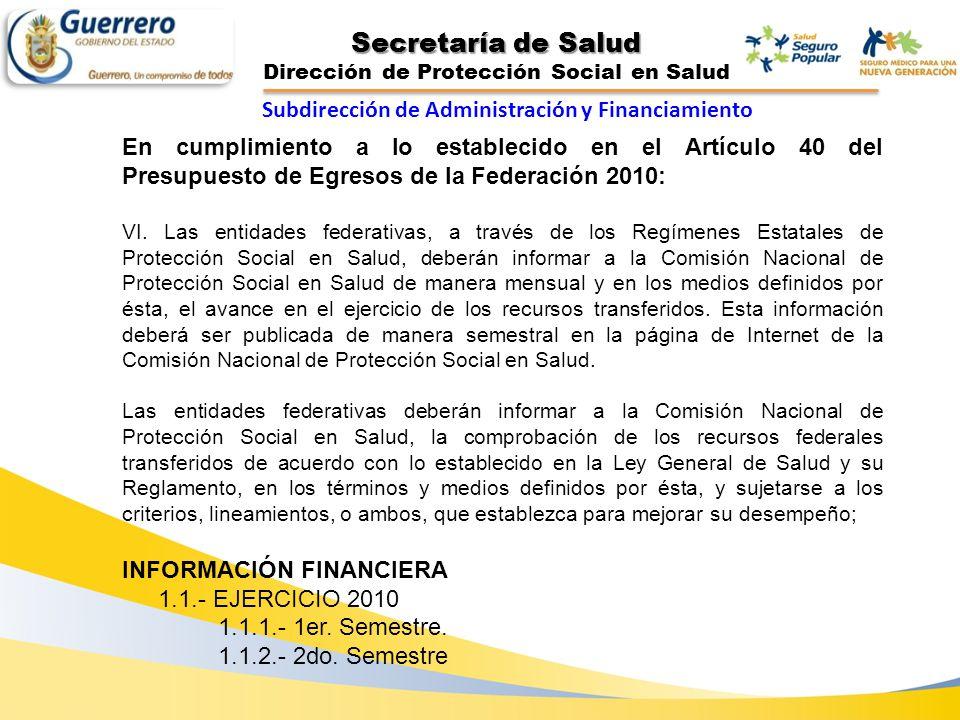 Secretaría de Salud Dirección de Protección Social en Salud En cumplimiento a lo establecido en el Artículo 40 del Presupuesto de Egresos de la Federa