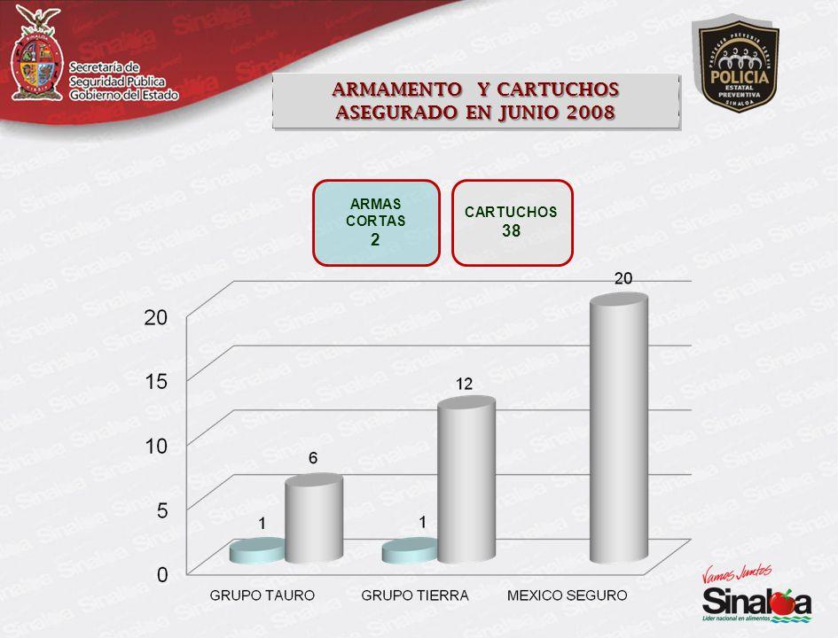 ARMAS CORTAS 2 ARMAMENTO Y CARTUCHOS ASEGURADO EN JUNIO 2008 ARMAMENTO Y CARTUCHOS ASEGURADO EN JUNIO 2008 CARTUCHOS 38