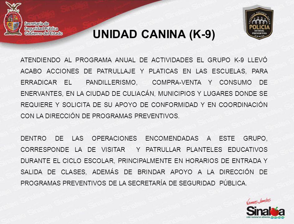 ATENDIENDO AL PROGRAMA ANUAL DE ACTIVIDADES EL GRUPO K-9 LLEVÓ ACABO ACCIONES DE PATRULLAJE Y PLATICAS EN LAS ESCUELAS, PARA ERRADICAR EL PANDILLERISMO, COMPRA-VENTA Y CONSUMO DE ENERVANTES, EN LA CIUDAD DE CULIACÁN, MUNICIPIOS Y LUGARES DONDE SE REQUIERE Y SOLICITA DE SU APOYO DE CONFORMIDAD Y EN COORDINACIÓN CON LA DIRECCIÓN DE PROGRAMAS PREVENTIVOS.