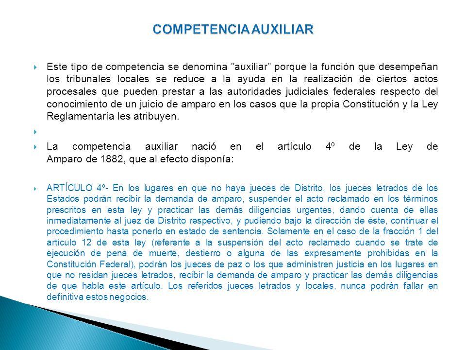 Por medio de este articulo, la Ley de Amparo concede nuevamente facultades y competencia a los jueces de los Estados para tener injerencia en la tramitación del juicio constitucional.