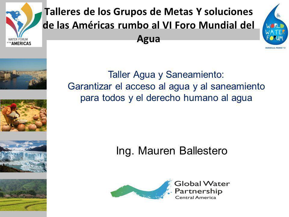 Talleres de los Grupos de Metas Y soluciones de las Américas rumbo al VI Foro Mundial del Agua Ing.