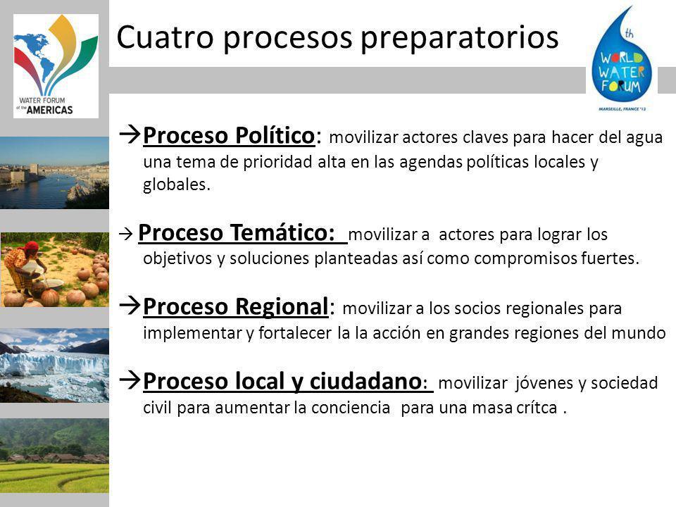 Cuatro procesos preparatorios Proceso Político: movilizar actores claves para hacer del agua una tema de prioridad alta en las agendas políticas locales y globales.