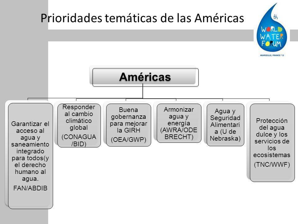 Prioridades temáticas de las Américas Américas Garantizar el acceso al agua y saneamiento integrado para todos(y el derecho humano al agua.
