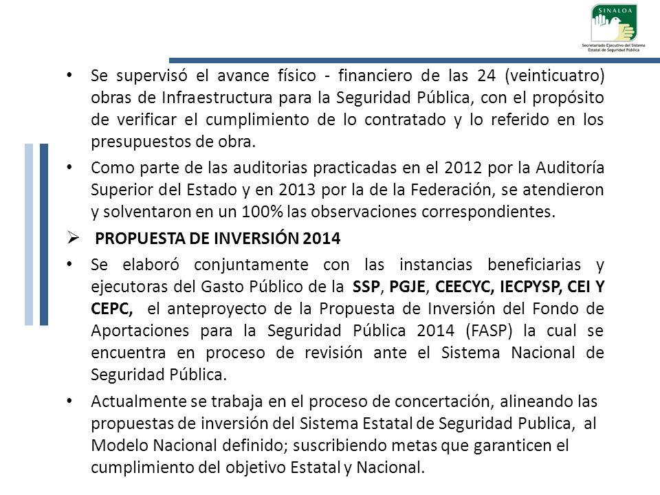 Se supervisó el avance físico - financiero de las 24 (veinticuatro) obras de Infraestructura para la Seguridad Pública, con el propósito de verificar