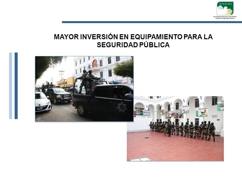 MAYOR INVERSIÓN EN EQUIPAMIENTO PARA LA SEGURIDAD PÚBLICA