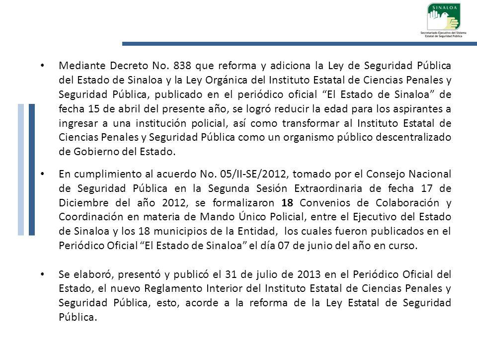 Mediante Decreto No. 838 que reforma y adiciona la Ley de Seguridad Pública del Estado de Sinaloa y la Ley Orgánica del Instituto Estatal de Ciencias